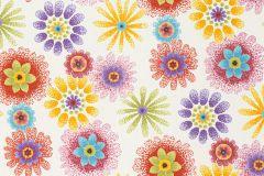 701449 cikkszámú tapéta.Rajzolt,retro,virágmintás,gyerek,különleges felületű,pöttyös,fehér,kék,narancs-terrakotta,piros-bordó,zöld,lemosható,vlies tapéta