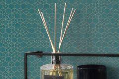 550368 cikkszámú tapéta.3d hatású,különleges felületű,arany,türkiz,lemosható,vlies tapéta