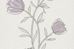 733051 cikkszámú tapéta.Természeti mintás,virágmintás,bézs-drapp,lila,szürke,lemosható,illesztés mentes,vlies tapéta