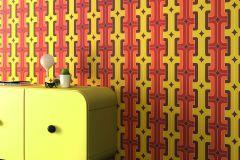 804812 cikkszámú tapéta.Absztrakt,különleges felületű,különleges motívumos,retro,barna,narancs-terrakotta,piros-bordó,sárga,lemosható,vlies tapéta