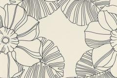 804904 cikkszámú tapéta.Különleges felületű,különleges motívumos,rajzolt,retro,virágmintás,fekete,szürke,lemosható,vlies tapéta