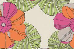 804911 cikkszámú tapéta.Különleges felületű,különleges motívumos,rajzolt,retro,virágmintás,narancs-terrakotta,pink-rózsaszín,szürke,zöld,lemosható,vlies tapéta