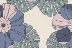 804928 cikkszámú tapéta.Különleges felületű,különleges motívumos,rajzolt,retro,virágmintás,kék,lila,szürke,lemosható,vlies tapéta