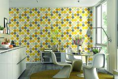 805116 cikkszámú tapéta.Geometriai mintás,különleges felületű,különleges motívumos,retro,sárga,szürke,lemosható,vlies tapéta