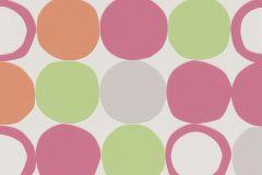805123 cikkszámú tapéta.Geometriai mintás,különleges felületű,különleges motívumos,retro,narancs-terrakotta,pink-rózsaszín,szürke,zöld,lemosható,vlies tapéta