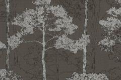 410839 cikkszámú tapéta.Különleges felületű,rajzolt,természeti mintás,barna,ezüst,lemosható,vlies tapéta