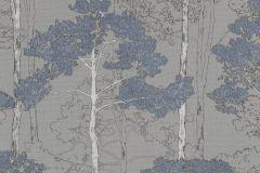 410846 cikkszámú tapéta.Különleges felületű,rajzolt,természeti mintás,ezüst,kék,szürke,lemosható,vlies tapéta