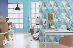 410907 cikkszámú tapéta.Geometriai mintás,különleges felületű,retro,fehér,kék,szürke,türkiz,zöld,lemosható,vlies tapéta