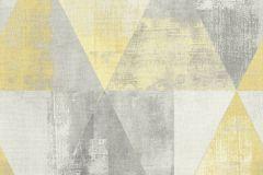 410921 cikkszámú tapéta.Geometriai mintás,különleges felületű,retro,sárga,szürke,lemosható,vlies tapéta