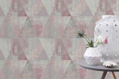 410938 cikkszámú tapéta.Geometriai mintás,különleges felületű,retro,pink-rózsaszín,szürke,lemosható,vlies tapéta