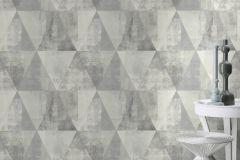 410945 cikkszámú tapéta.Geometriai mintás,különleges felületű,retro,szürke,lemosható,vlies tapéta