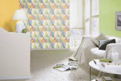410914 cikkszámú tapéta.Geometriai mintás,különleges felületű,retro,kék,lila,sárga,szürke,zöld,lemosható,vlies tapéta