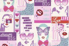 209600 cikkszámú tapéta.Gyerek,különleges motívumos,rajzolt,fehér,pink-rózsaszín,piros-bordó,türkiz,gyengén mosható,papír tapéta