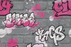 237818 cikkszámú tapéta.Feliratos-számos,gyerek,kőhatású-kőmintás,fehér,fekete,pink-rózsaszín,szürke,gyengén mosható,papír tapéta