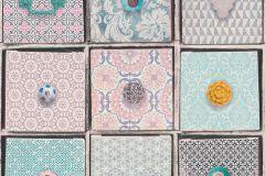 281804 cikkszámú tapéta.Geometriai mintás,gyerek,különleges motívumos,barna,kék,pink-rózsaszín,sárga,szürke,gyengén mosható,papír tapéta