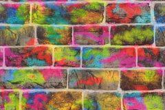 291407 cikkszámú tapéta.Feliratos-számos,gyerek,kőhatású-kőmintás,kék,pink-rózsaszín,piros-bordó,sárga,zöld,gyengén mosható,papír tapéta