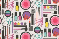 291704 cikkszámú tapéta.Gyerek,rajzolt,fehér,fekete,lila,narancs-terrakotta,pink-rózsaszín,piros-bordó,sárga,türkiz,gyengén mosható,papír tapéta