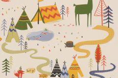 292428 cikkszámú tapéta.állatok,gyerek,rajzolt,bézs-drapp,kék,narancs-terrakotta,sárga,szürke,zöld,gyengén mosható,papír tapéta