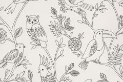 292909 cikkszámú tapéta.állatok,gyerek,rajzolt,természeti mintás,fehér,fekete,gyengén mosható,papír tapéta