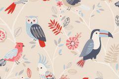 293005 cikkszámú tapéta.állatok,gyerek,rajzolt,természeti mintás,bézs-drapp,fehér,kék,piros-bordó,szürke,gyengén mosható,papír tapéta