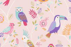 293012 cikkszámú tapéta.állatok,gyerek,rajzolt,narancs-terrakotta,pink-rózsaszín,piros-bordó,türkiz,zöld,barna,bézs-drapp,lila,gyengén mosható,papír tapéta