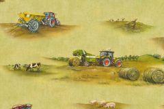 293203 cikkszámú tapéta.állatok,gyerek,különleges motívumos,rajzolt,barna,kék,piros-bordó,sárga,zöld,gyengén mosható,papír tapéta
