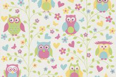 459104 cikkszámú tapéta.állatok,gyerek,rajzolt,természeti mintás,fehér,kék,pink-rózsaszín,sárga,zöld,lemosható,illesztés mentes,vlies tapéta