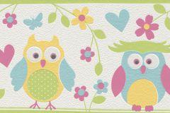 459203 cikkszámú tapéta.állatok,gyerek,rajzolt,természeti mintás,fehér,fekete,kék,pink-rózsaszín,sárga,türkiz,zöld, bordűr