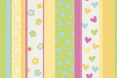 459302 cikkszámú tapéta.Csíkos,gyerek,virágmintás,fehér,kék,pink-rózsaszín,sárga,zöld,lemosható,illesztés mentes,vlies tapéta