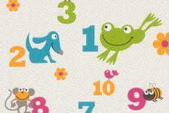 503050 cikkszámú tapéta.állatok,feliratos-számos,gyerek,rajzolt,barna,bézs-drapp,kék,pink-rózsaszín,sárga,szürke,zöld,lemosható,vlies tapéta