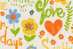 503166 cikkszámú tapéta.Feliratos-számos,gyerek,rajzolt,virágmintás,bézs-drapp,kék,narancs-terrakotta,sárga,zöld,lemosható,vlies tapéta