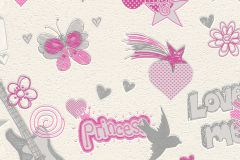 734522 cikkszámú tapéta.Feliratos-számos,gyerek,rajzolt,bézs-drapp,pink-rózsaszín,szürke,lemosható,vlies tapéta