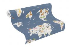 210910 cikkszámú tapéta.állatok,gyerek,rajzolt,kék,szürke,gyengén mosható,papír tapéta