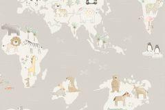 210927 cikkszámú tapéta.állatok,gyerek,rajzolt,fehér,szürke,gyengén mosható,papír tapéta
