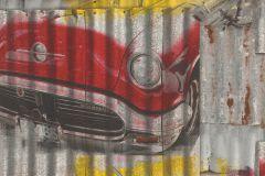 212419 cikkszámú tapéta.Különleges motívumos,rajzolt,piros-bordó,sárga,szürke,gyengén mosható,papír tapéta