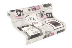 212709 cikkszámú tapéta.Feliratos-számos,különleges motívumos,rajzolt,fehér,pink-rózsaszín,szürke,gyengén mosható,papír tapéta