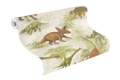 212808 cikkszámú tapéta.állatok,rajzolt,barna,bézs-drapp,zöld,gyengén mosható,papír tapéta