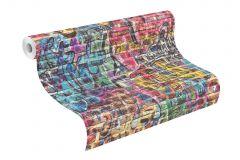 213201 cikkszámú tapéta.Gyerek,különleges motívumos,rajzolt,kék,pink-rózsaszín,sárga,gyengén mosható,papír tapéta