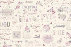 216707 cikkszámú tapéta.Feliratos-számos,gyerek,különleges motívumos,rajzolt,fehér,pink-rózsaszín,gyengén mosható,papír tapéta