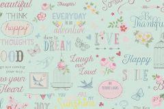 216714 cikkszámú tapéta.Feliratos-számos,gyerek,különleges motívumos,rajzolt,kék,pink-rózsaszín,gyengén mosható,papír tapéta