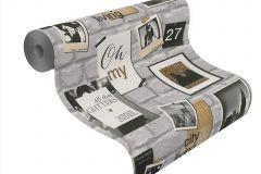 291605 cikkszámú tapéta.Feliratos-számos,kőhatású-kőmintás,különleges motívumos,arany,fehér,szürke,gyengén mosható,papír tapéta