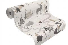 292404 cikkszámú tapéta.állatok,gyerek,különleges motívumos,rajzolt,fehér,szürke,gyengén mosható,papír tapéta