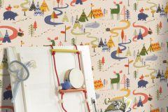 292428 cikkszámú tapéta.állatok,gyerek,különleges motívumos,rajzolt,bézs-drapp,narancs-terrakotta,piros-bordó,zöld,gyengén mosható,papír tapéta