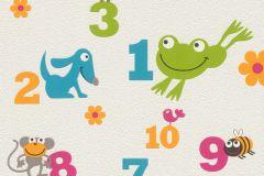 503050 cikkszámú tapéta.állatok,feliratos-számos,rajzolt,fehér,kék,narancs-terrakotta,zöld,lemosható,vlies tapéta