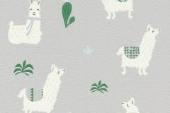 813241 cikkszámú tapéta.állatok,gyerek,különleges motívumos,fehér,szürke,zöld,lemosható,illesztés mentes,vlies tapéta