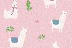 813258 cikkszámú tapéta.állatok,gyerek,különleges motívumos,fehér,pink-rózsaszín,zöld,lemosható,illesztés mentes,vlies tapéta