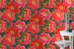 408355 cikkszámú tapéta.Virágmintás,narancs-terrakotta,pink-rózsaszín,piros-bordó,lemosható,vlies tapéta