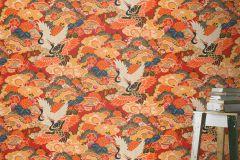 409345 cikkszámú tapéta.állatok,virágmintás,fehér,fekete,kék,narancs-terrakotta,piros-bordó,lemosható,vlies tapéta