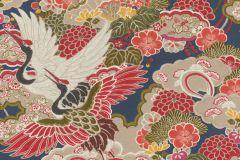 409352 cikkszámú tapéta.Virágmintás,állatok,kék,piros-bordó,zöld,lemosható,vlies tapéta