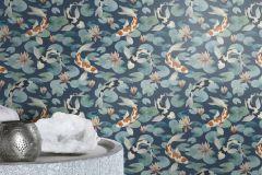 409444 cikkszámú tapéta.állatok,kék,narancs-terrakotta,szürke,lemosható,vlies tapéta
